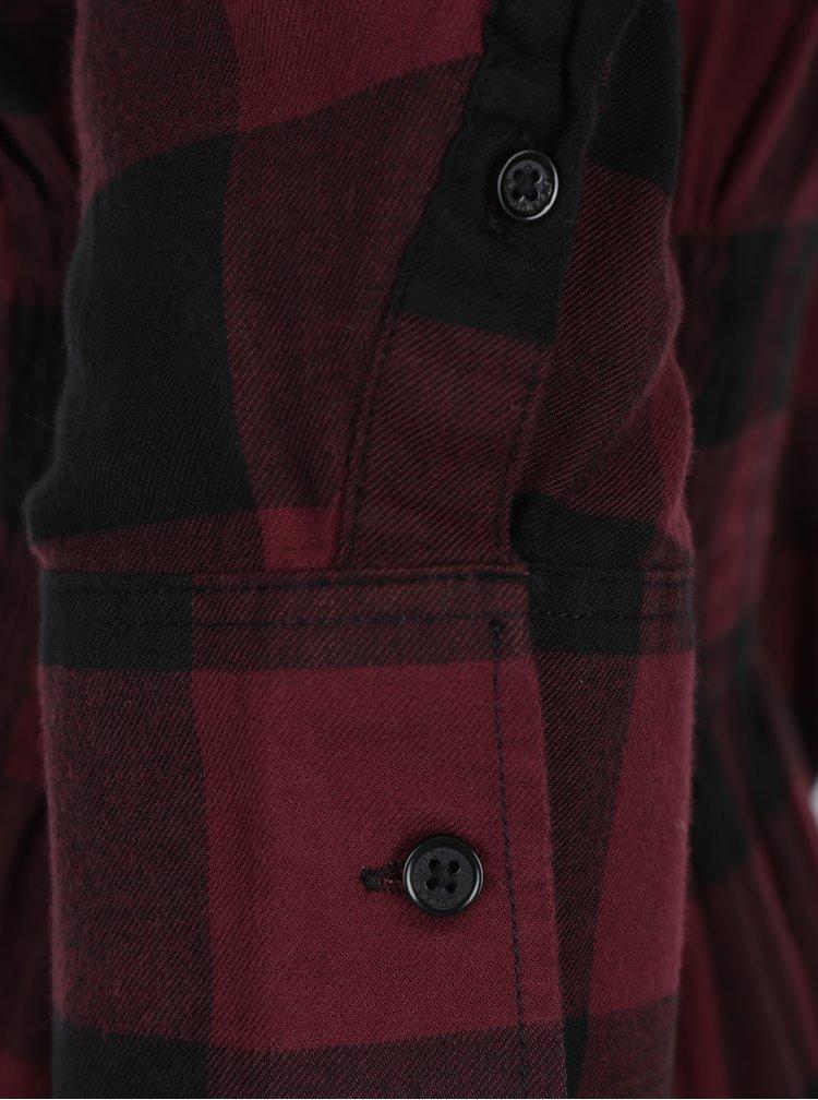 Černo-vínové kostkované košilové šaty s řasením Cheap Monday
