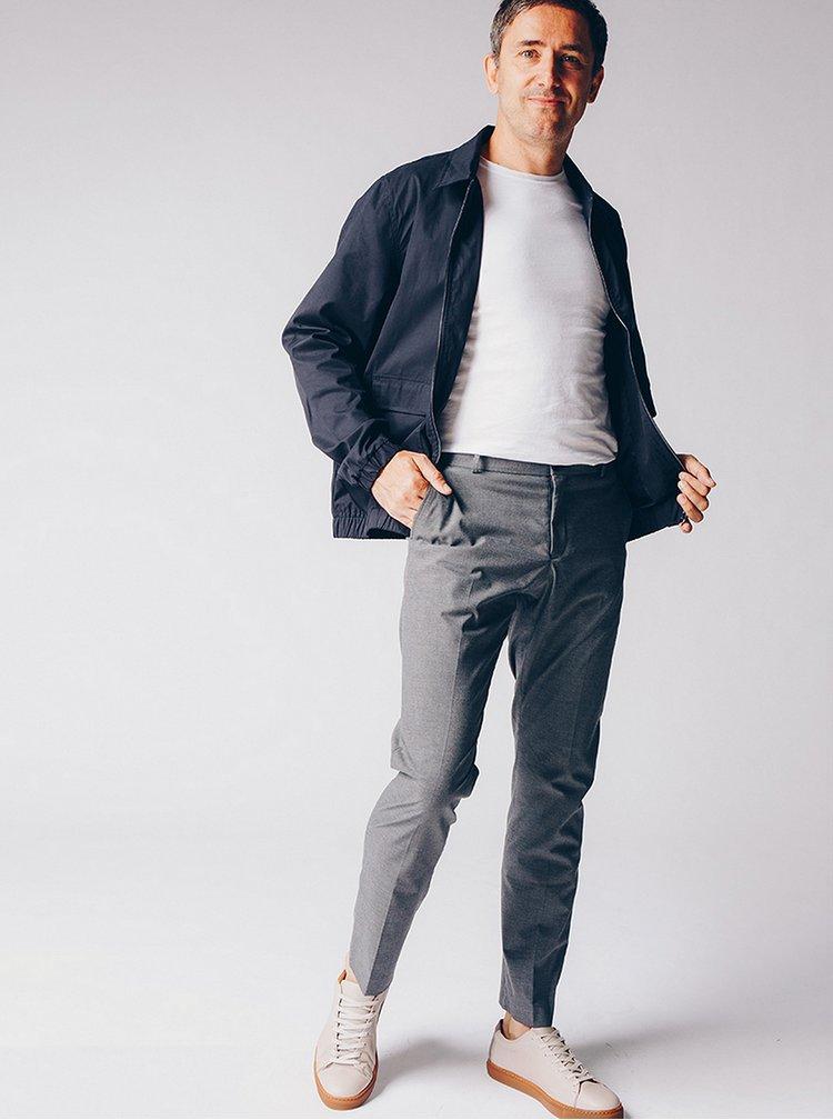 Světle šedé kožené tenisky Selected Homme David