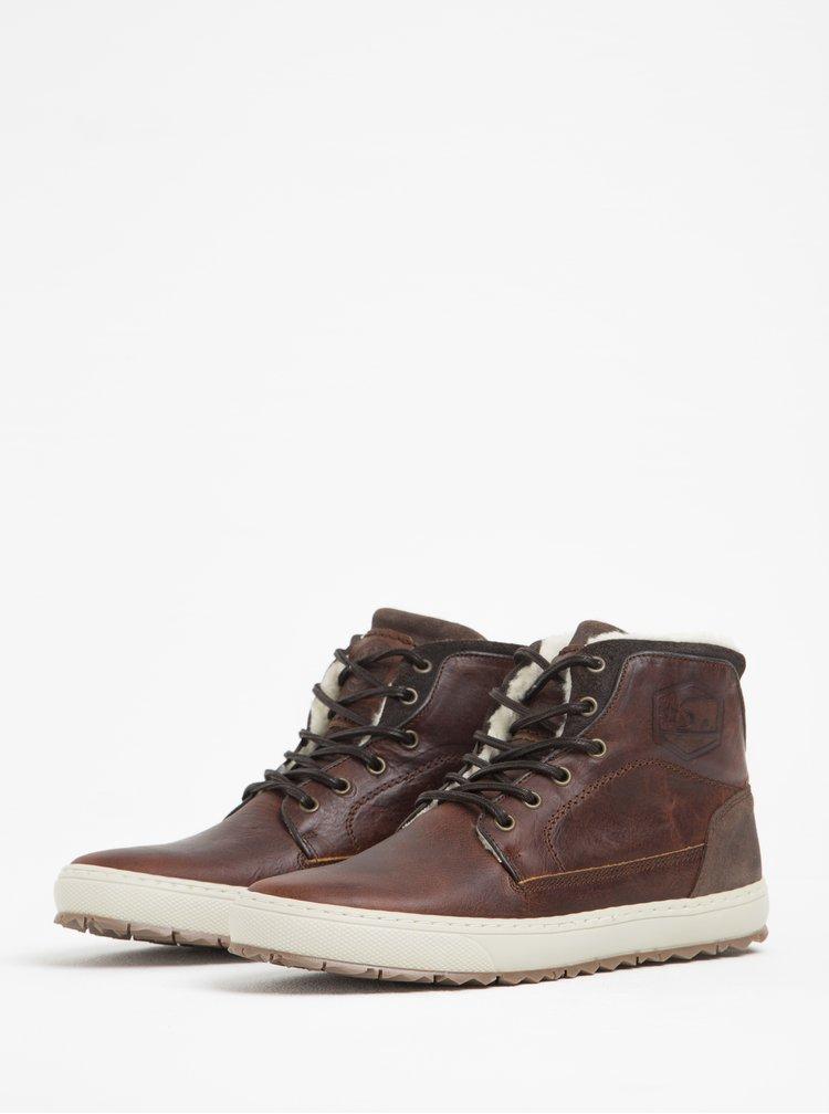 Tmavě hnědé pánské kožené kotníkové boty s umělou kožešinou Bullboxer