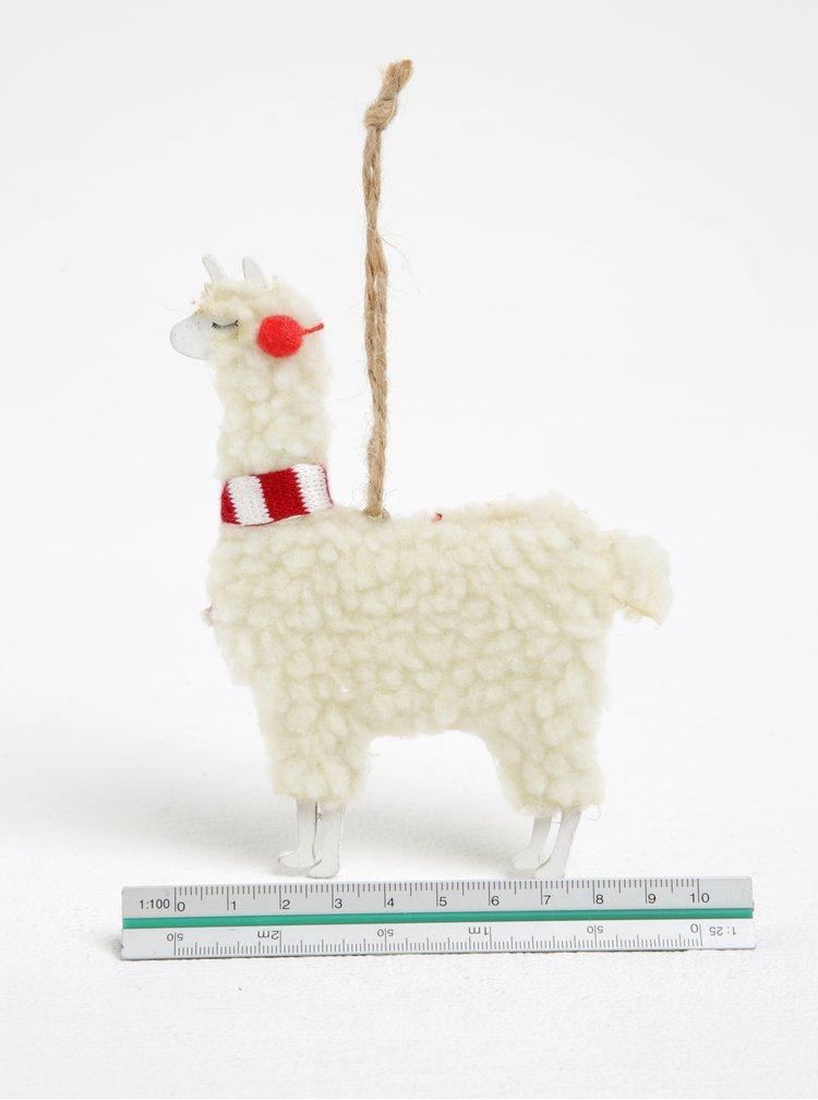 Krémový přívěšek ve tvaru lamy Sass & Belle Festive Llama