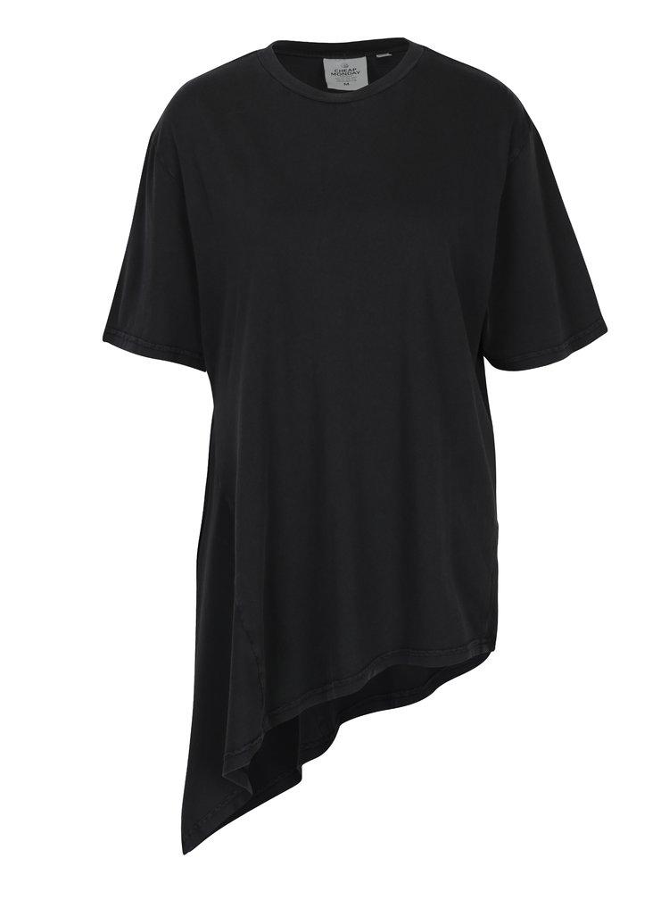 Tmavě šedé dámské volné asymetrické tričko Cheap Monday