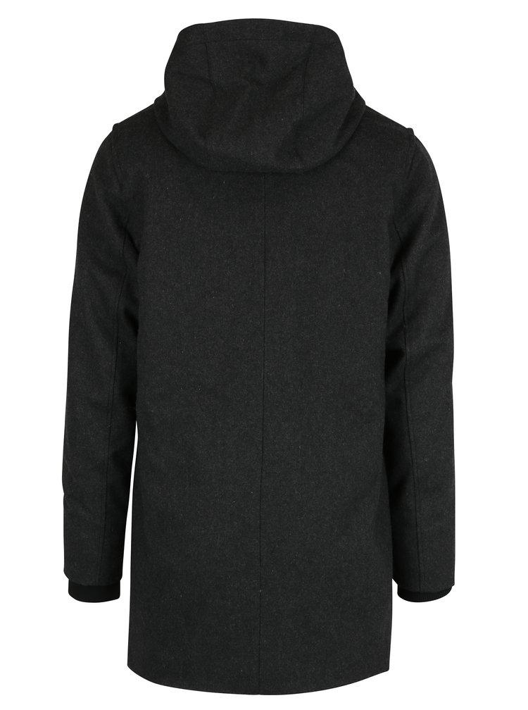 Šedý pánský vlněný kabát RVLT