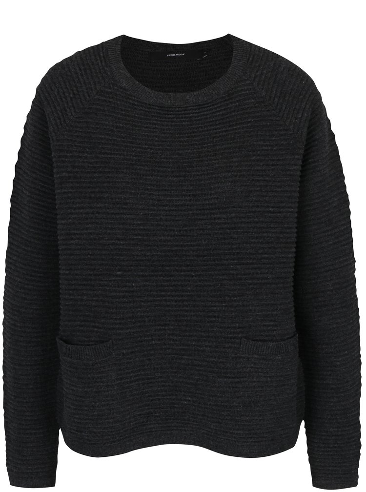 Tmavě šedý žebrovaný svetr s kapsami VERO MODA Natascha