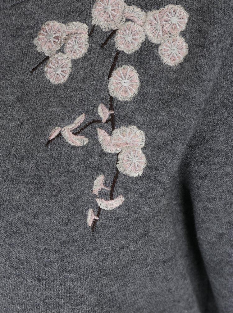 Šedý svetr s výšivkami VERO MODA Capitola