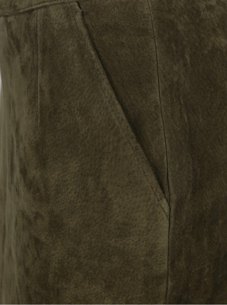 Khaki pouzdrová sukně z broušené kůže VERO MODA Rosetta