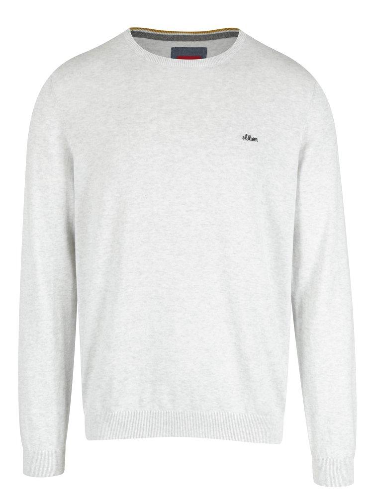 Světle šedý žíhaný pánský svetr s výšivkou s.Oliver