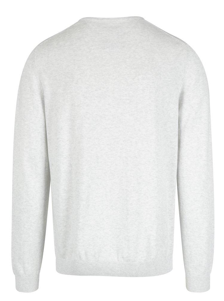 Svetlosivý melírovaný pánsky sveter s výšivkou s.Oliver