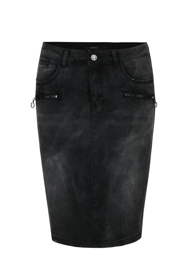 Tmavě šedá džínová pouzdrová sukně VERO MODA Mine