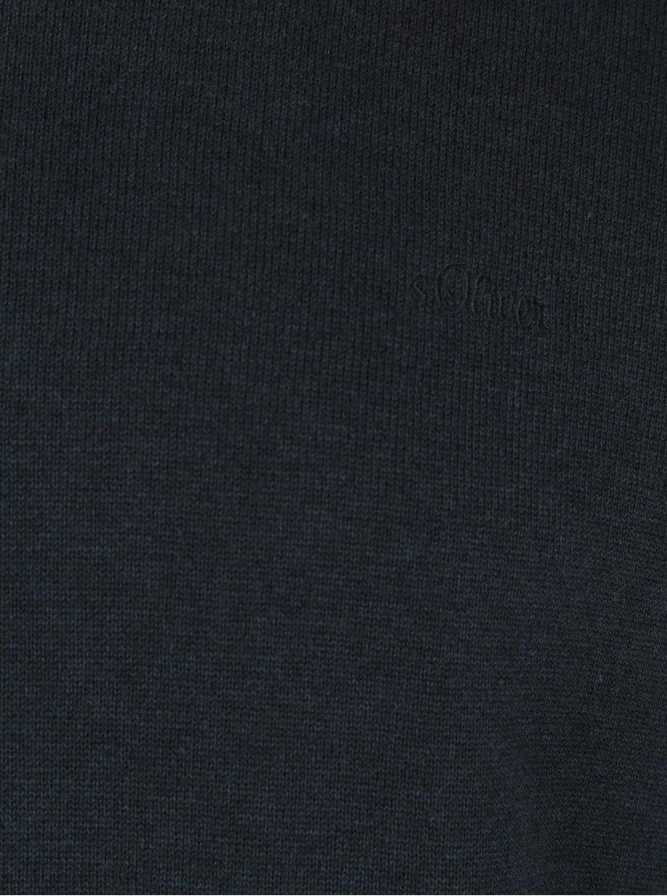 Tmavě modrý pánský svetr s výšivkou s.Oliver