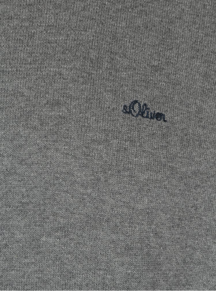 Šedý žíhaný pánský svetr s výšivkou s.Oliver