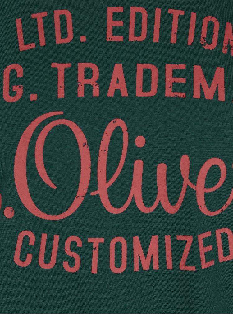 Tmavě zelené tričko s červeným potiskem s.Oliver