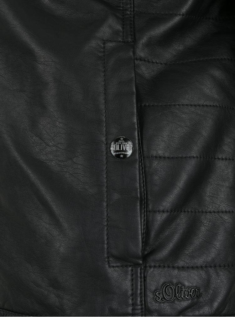 Černá pánská koženková bunda s kapsami s.Oliver