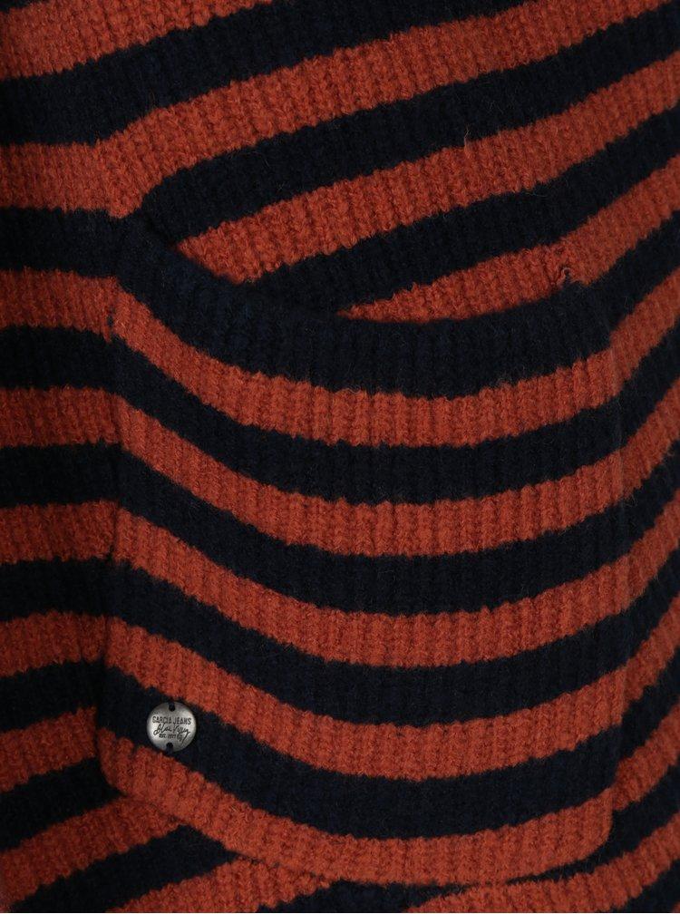 Modro-oranžový dámský kardigan bez rukávů Garcia Jeans