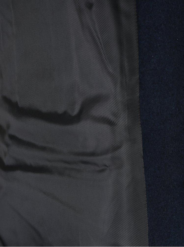 Tmavě modrý dlouhý kabát s příměsí vlny VERO MODA Blaza