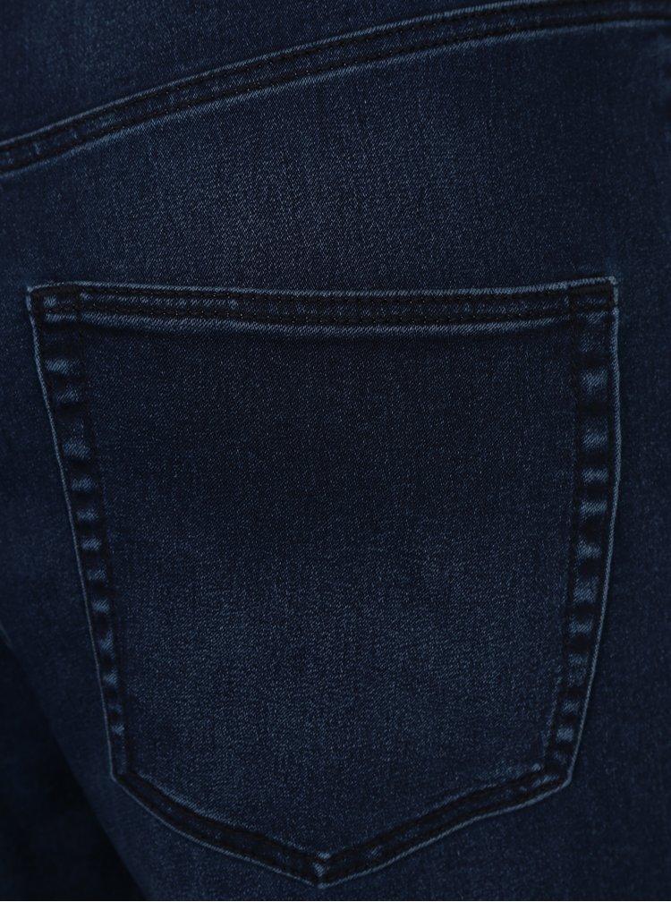 Tmavě modré dámské džínové lacláče s vysokým pasem Cheap Monday