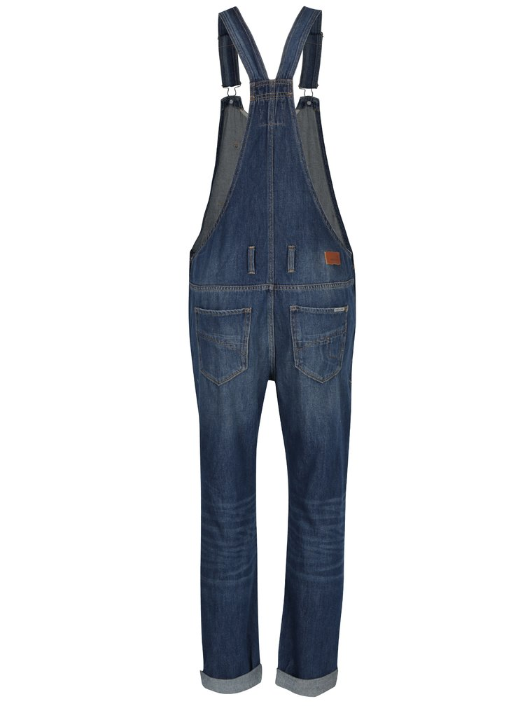 Salopeta albastra cu aspect decolorat si uzat Garcia Jeans