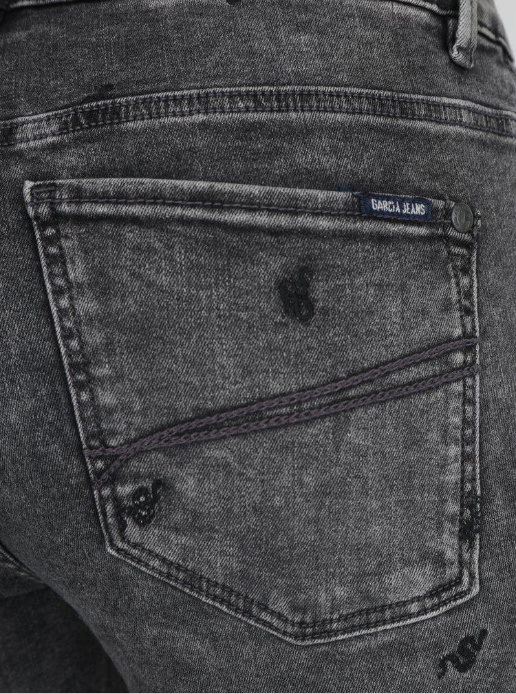Tmavě šedé dámské džíny s vyšivkami Garcia Jeans Celia
