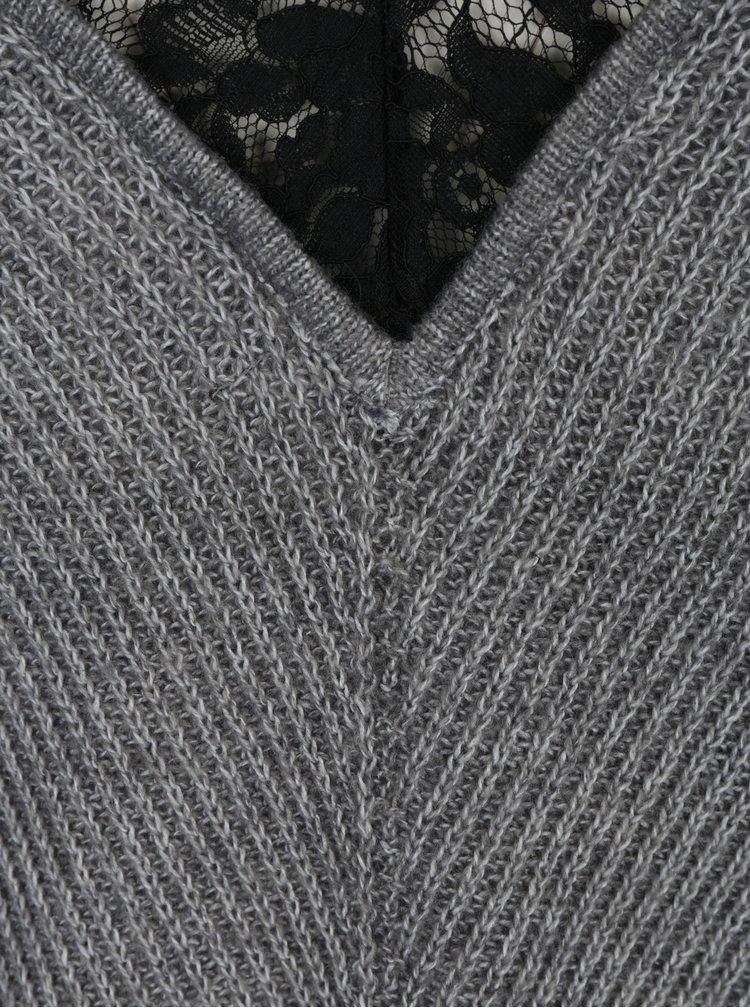 Šedý svetr s příměsí vlny z alpaky VERO MODA Buena