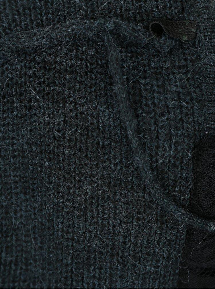Tmavě zelený svetr s příměsí vlny z alpaky VERO MODA Buena