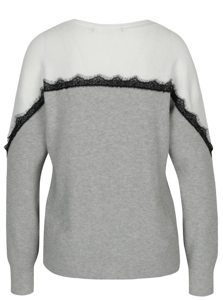 Krémovo-sivý sveter s čipkovanými detailmi VERO MODA Smilla