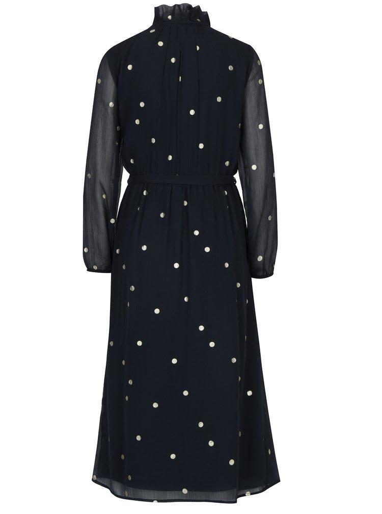 Tmavě modré vzorované šaty s průsvitným rukávem VERO MODA Dina