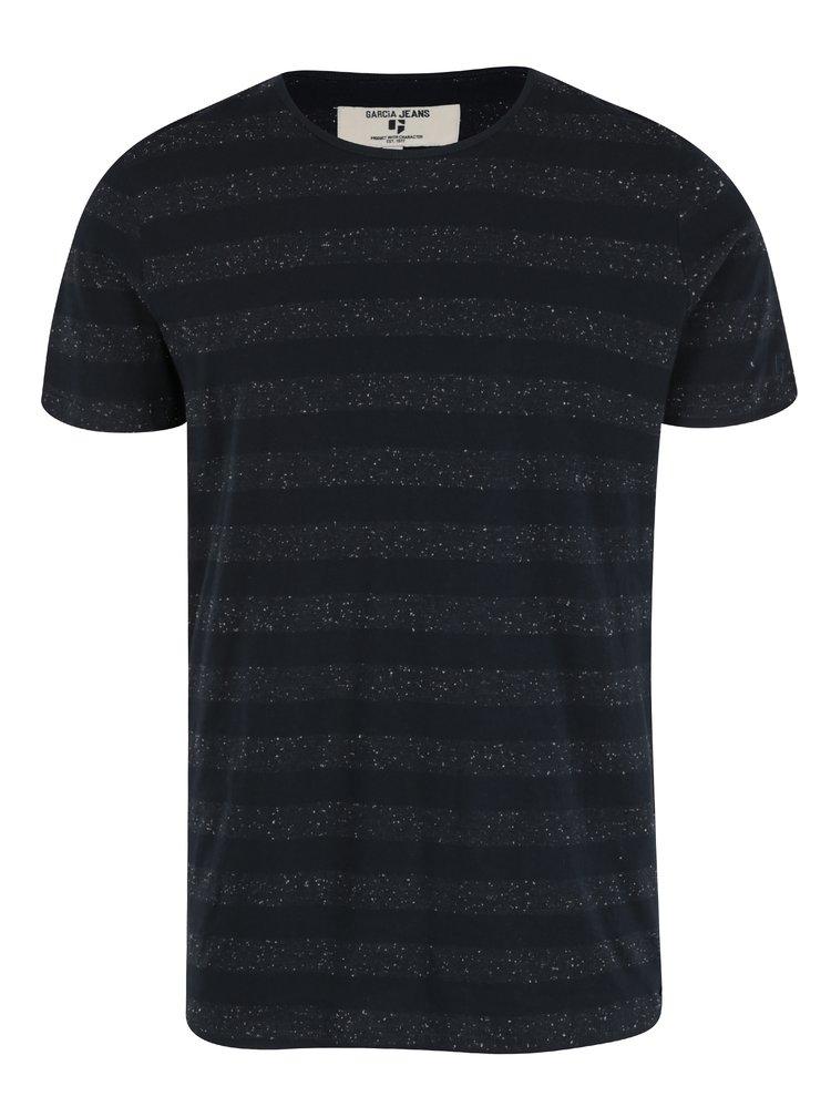 Tricou bleumarin cu print pentru barbati Garcia Jeans