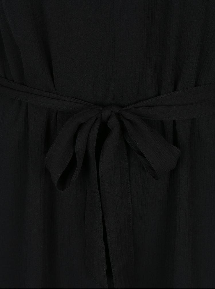 Černé minišaty s volánem a páskem VERO MODA Lisa