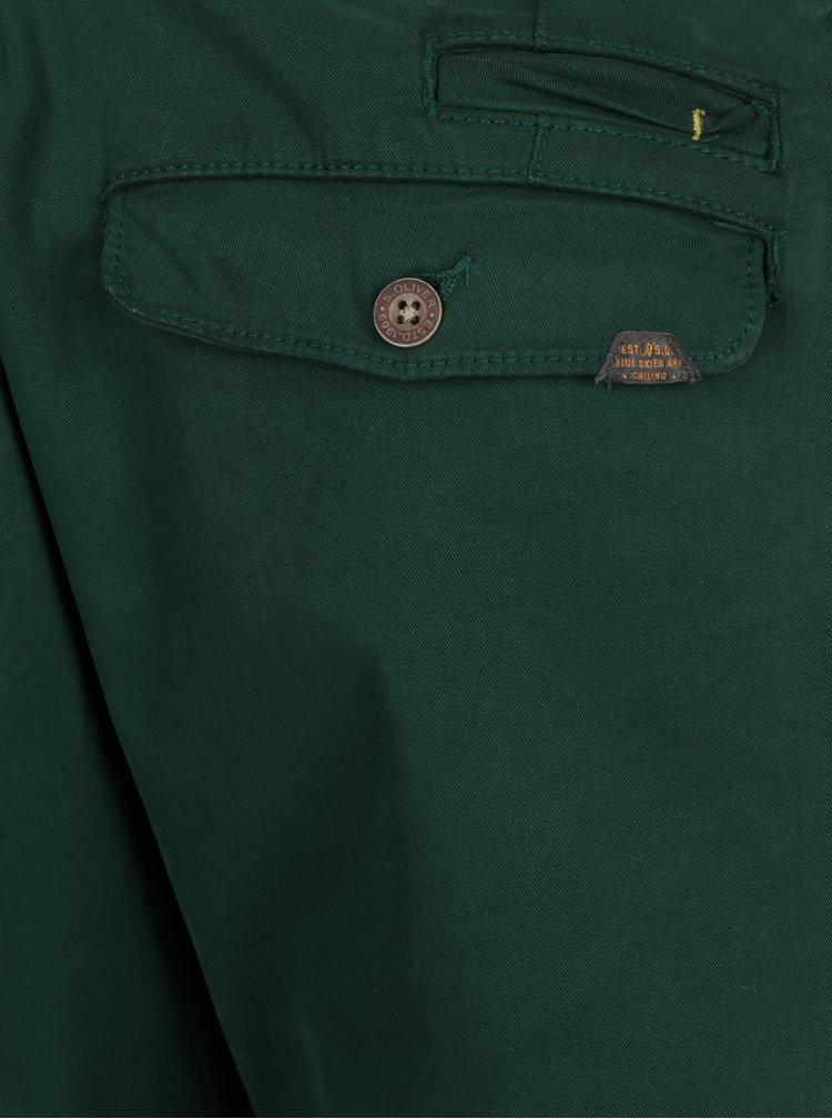 Tmavě zelené pánské slim fit chino kalhoty s páskem s.Oliver