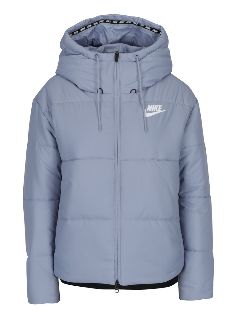 Světle modrá dámská prošívaná bunda s kapucí Nike Sportswear Fill
