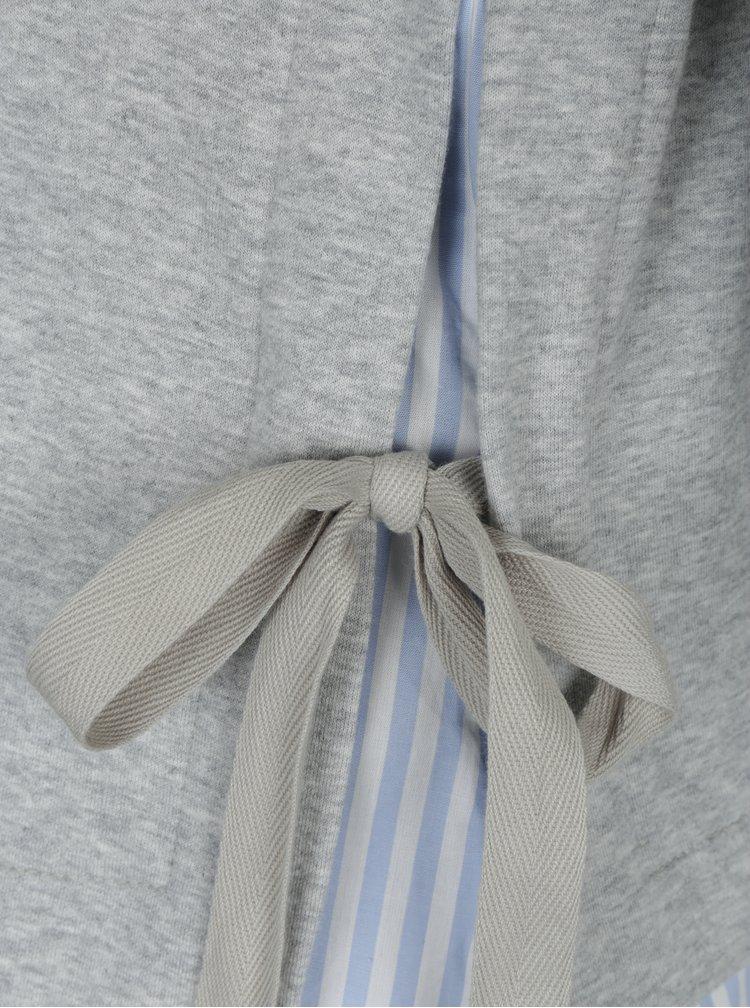 Světle šedý žíhaný top s všitým košilovým lemem VERO MODA Kia
