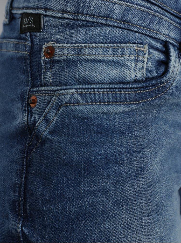 Blugi slim fit albastri cu aspect prespalat prentu femei -