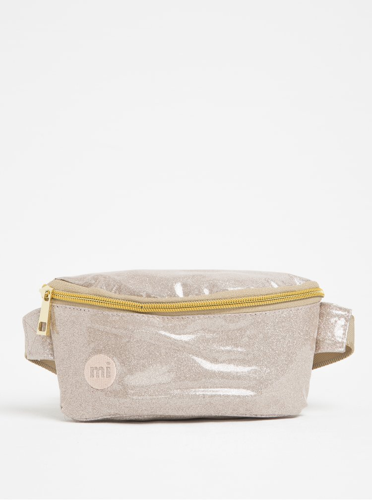 Borsetă bej metalizat pentru femei - Mi-Pac Bum Bag Glitter