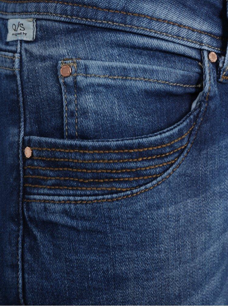 Modré dámské slim fit džíny s vyšisovaným efektem QS by s.Oliver