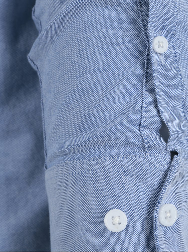 Světle modrá pánská neformální košile bez límečku Garcia Jeans