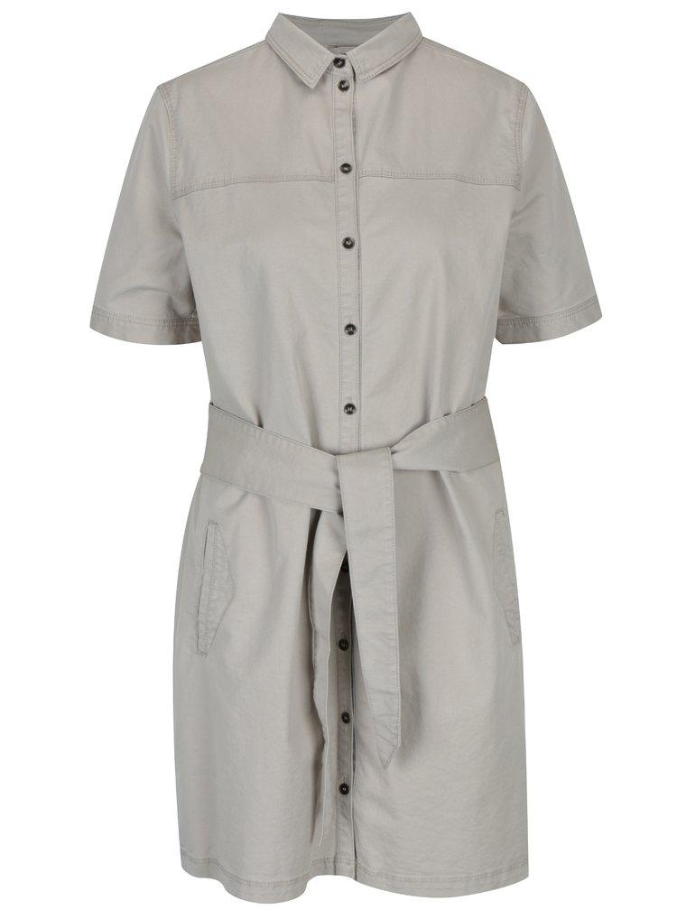 Béžové košilové šaty s krátkým rukávem a páskem s.Oliver