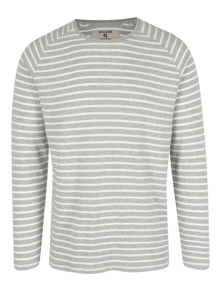Bluza gri & alb cu print in dungi pentru barbati Garcia Jeans