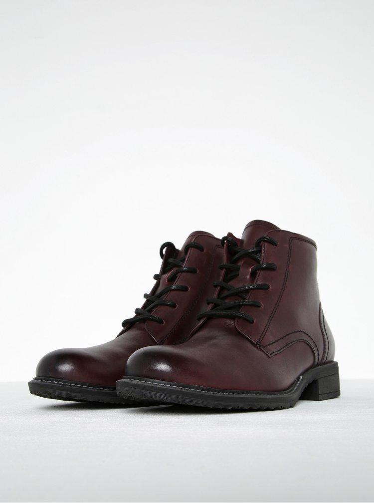 Vínové kožené kotníkové boty se zipem Tamaris