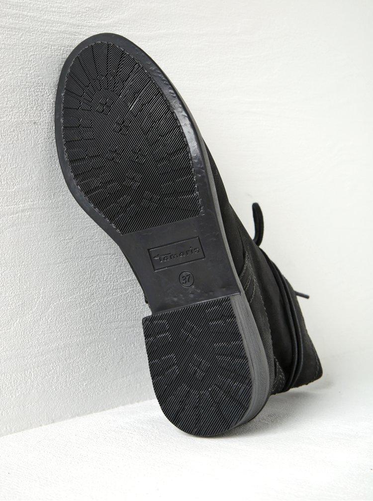Černé kožené kotníkové boty na zip Tamaris