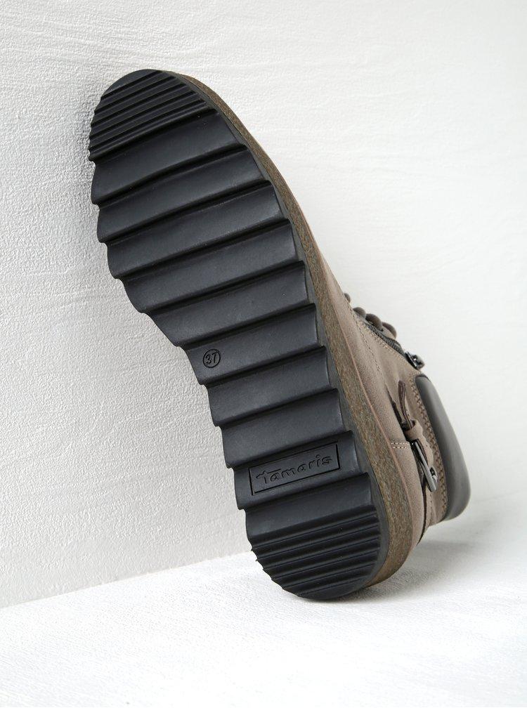Béžové kotníkové boty v semišové úpravě na platformě Tamaris