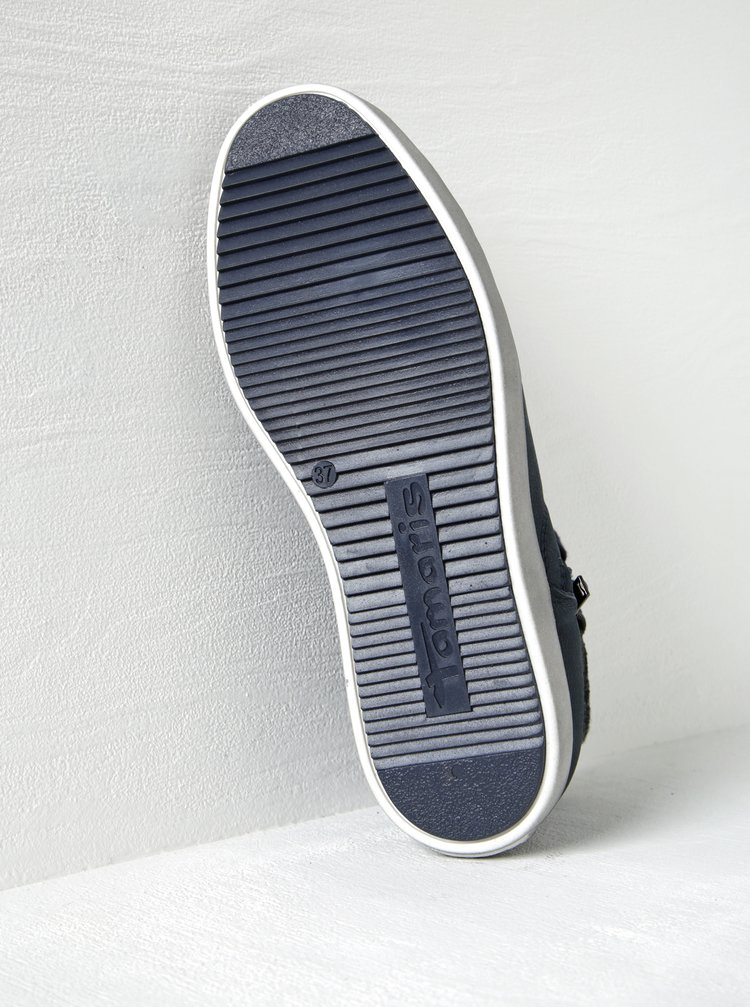 Tmavě modré kožené kotníkové tenisky se zipem Tamaris