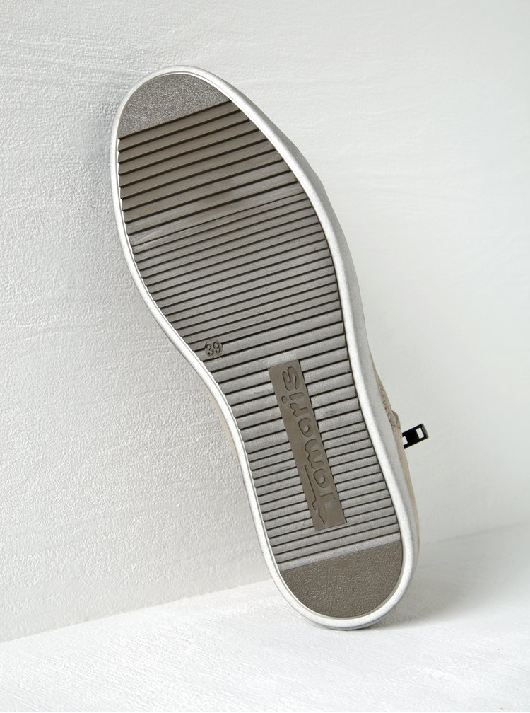 Béžové kožené kotníkové tenisky se zipem Tamaris