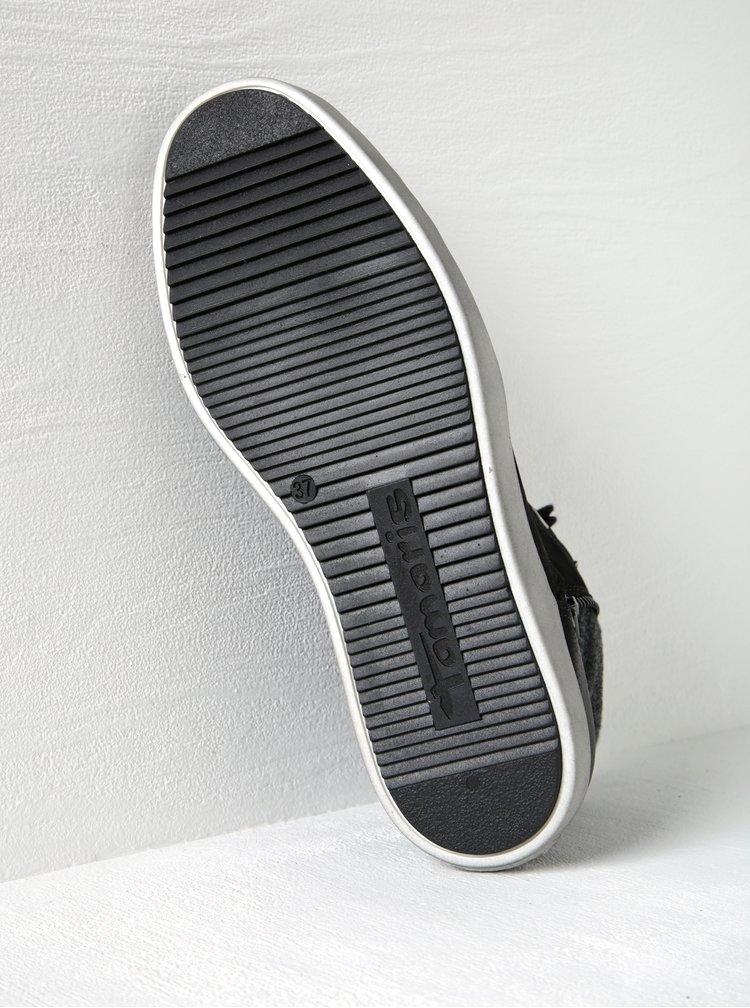 Černé kožené kotníkové tenisky se zipem Tamaris