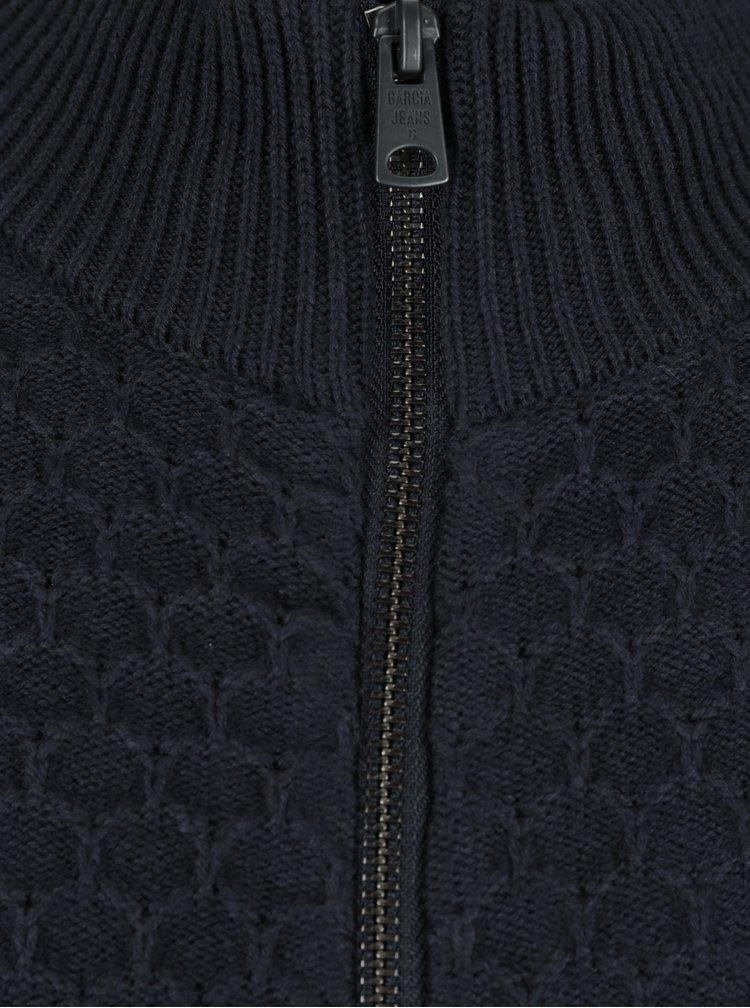 Tmavě modrý pánský kardigan na zip s příměsí vlny Garcia Jeans