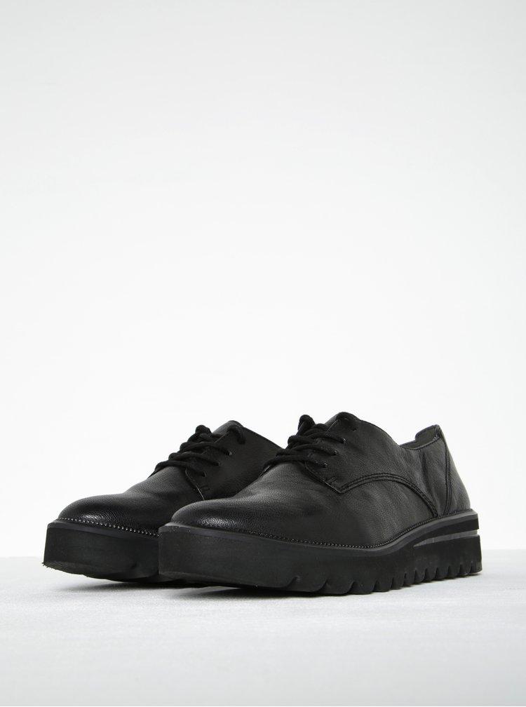 Pantofi negri din piele natural cu talpă tip platformă - Tamaris