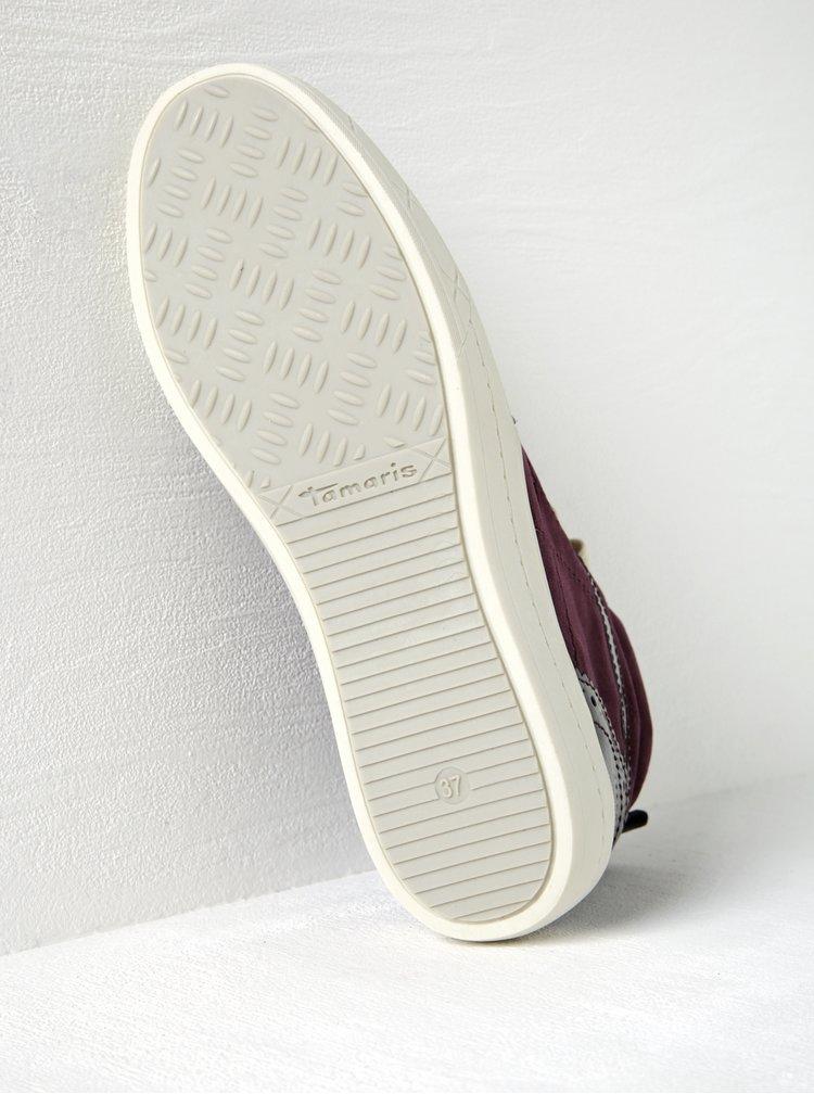 Fialové kotníkové tenisky s lesklými a sametovými detaily Tamaris