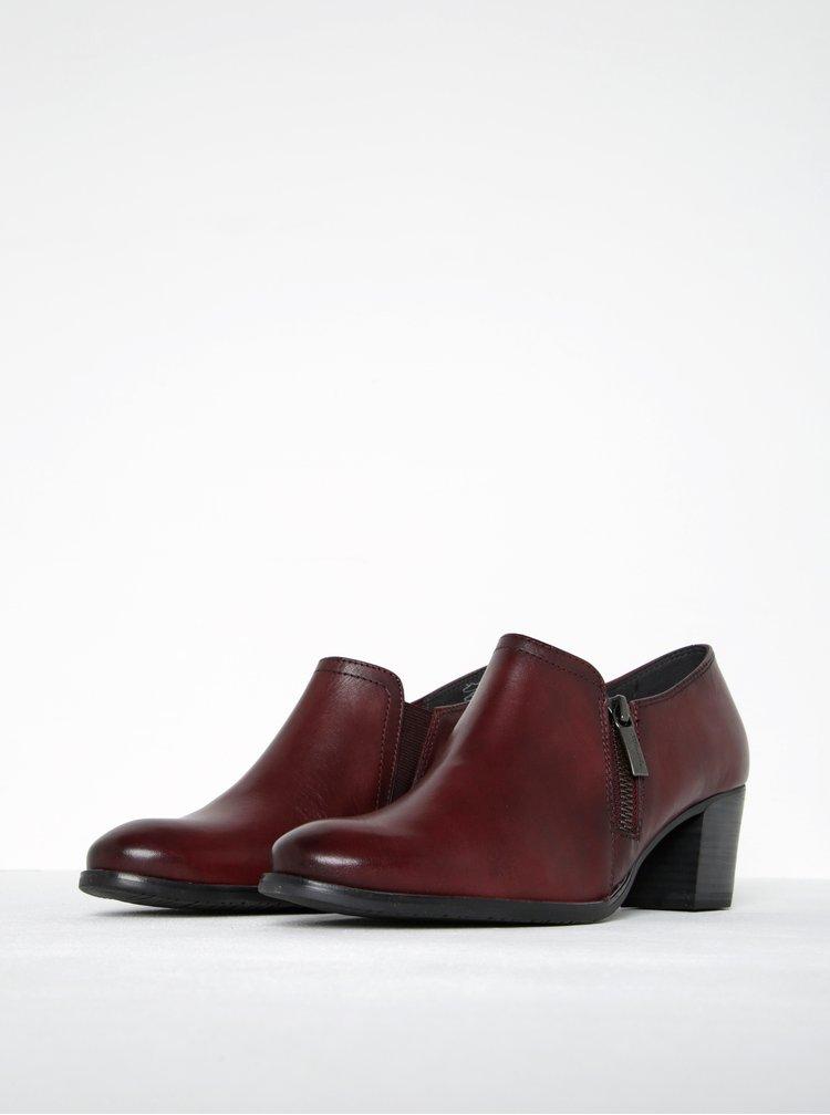 Pantofi rosu bordeaux din piele naturala cu fermoar lateral - Tamaris