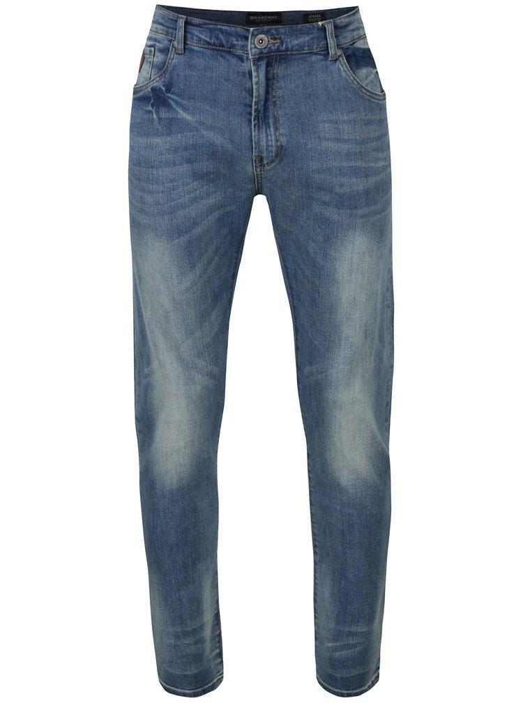 Modré pánské džíny s vyšisovaným efektem Broadway Ryan