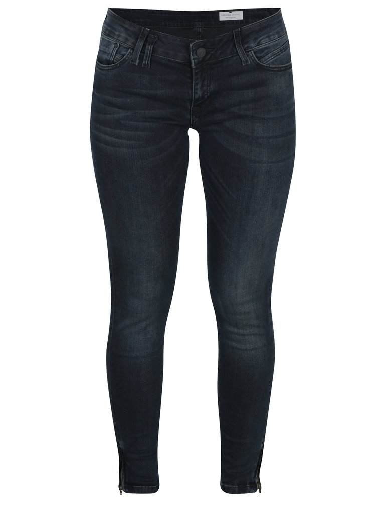 Černé dámské zkrácené super skinny džíny Cross Jeans