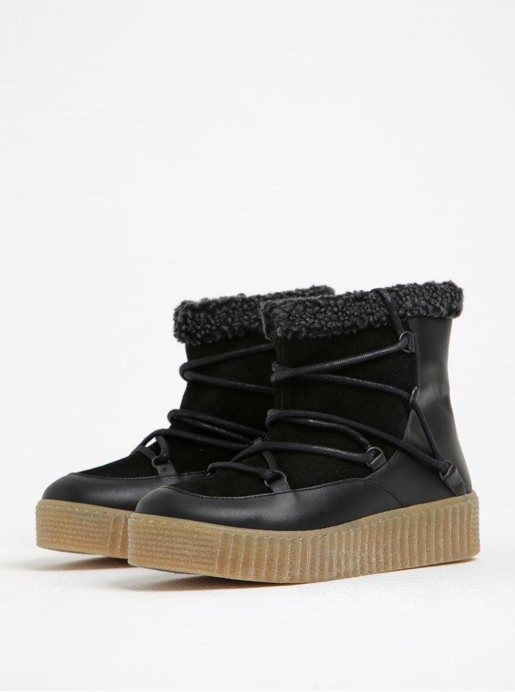 Černé zimní kožené kotníkové boty s kožíškem Pieces Paccia