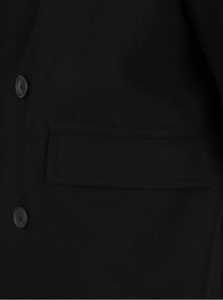 Pardesiu negru din amestec de lână Selected Homme Merce